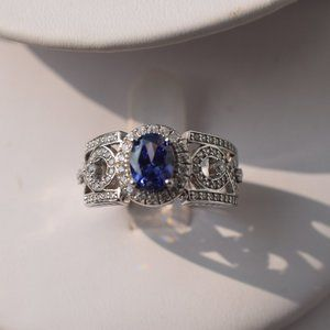 PJM 925 Genuine Tanzanite CZ Ring Size 8